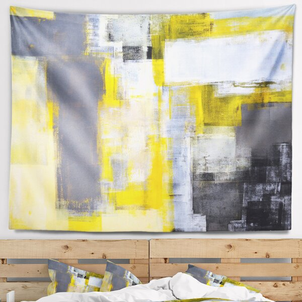 Grey and Yellow Blur Abstract Tapestry by East Urban Home