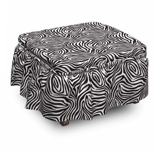 Stripes Zebra Skin 2 Piece Box Cushion Ottoman Slipcover Set By East Urban Home