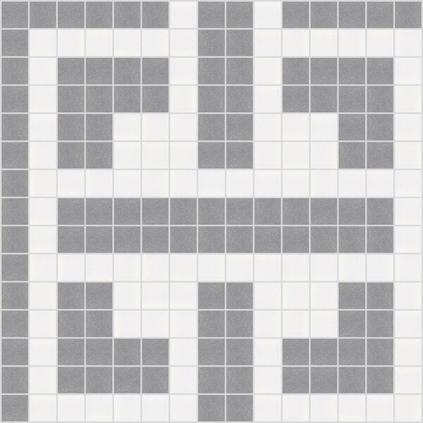 Urban Essentials Geometric Lattice 3/4 x 3/4 Glass Glossy Mosaic in Calm Grey by Mosaic Loft