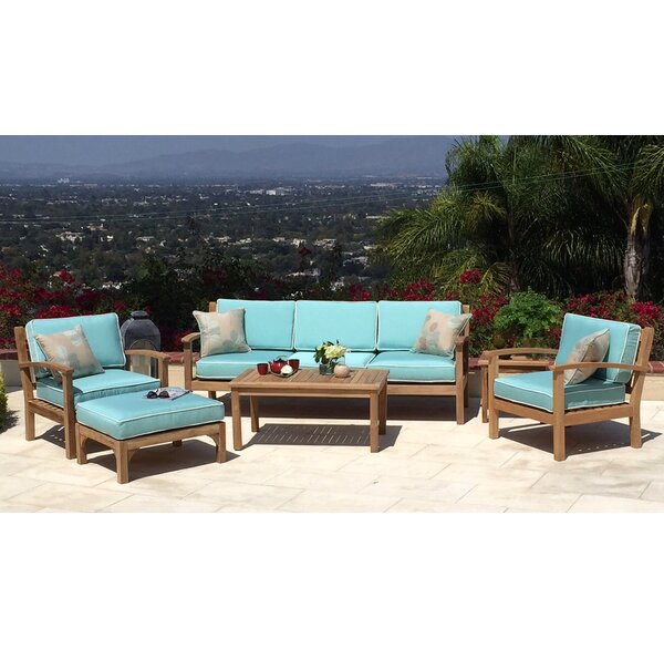 Waterford 5 Piece Teak Sunbrella Sofa Set with Cushions by Trijaya Living