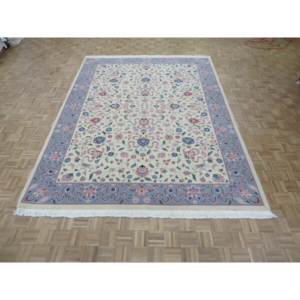 One-of-a-Kind Padro Kashan Hand-Knotted Wool Ivory Area Rug by Bloomsbury Market
