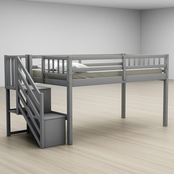 Axminster Twin Floor Loft Bed with Ladder and Storage by Isabelle & Max Isabelle & Max™