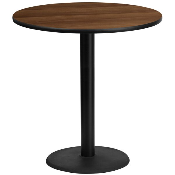 Pereyra 42'' Round Walnut Laminate Pub Table by Symple Stuff
