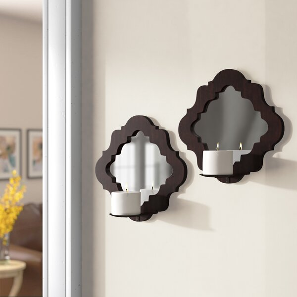 Wood Damask Mirrored Wall Sconce (Set of 2) by Three Posts