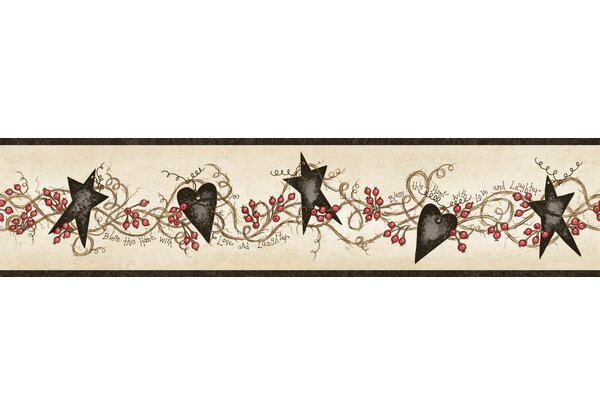 Countryside Paxton Tin Hearts And Stars 15 X 4 5 Floral 3d Embossed Border Wallpaper By Brewster Home Fashions.