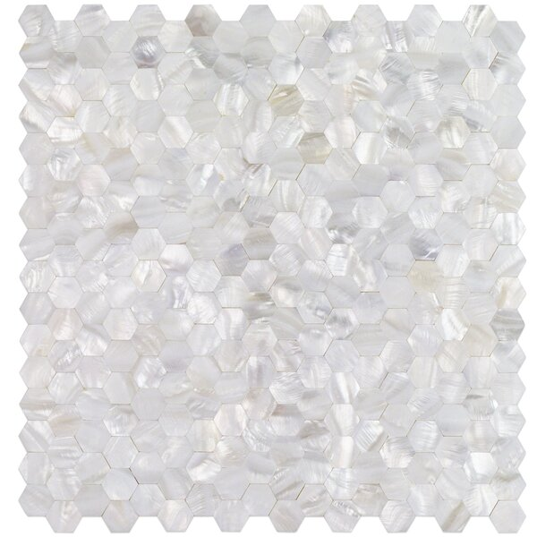 Lokahi Random Sized Glass Pearl Shell Mosaic Tile in Polished White/Pearl by Splashback Tile