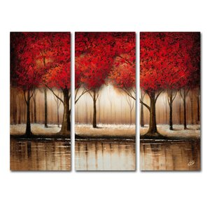 Parade of Red Trees by Rio3 Piece Set on Canvas by Trademark Fine Art