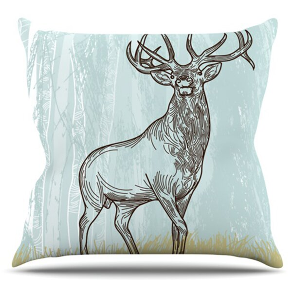 Elk Scene by Sam Posnick Outdoor Throw Pillow by East Urban Home