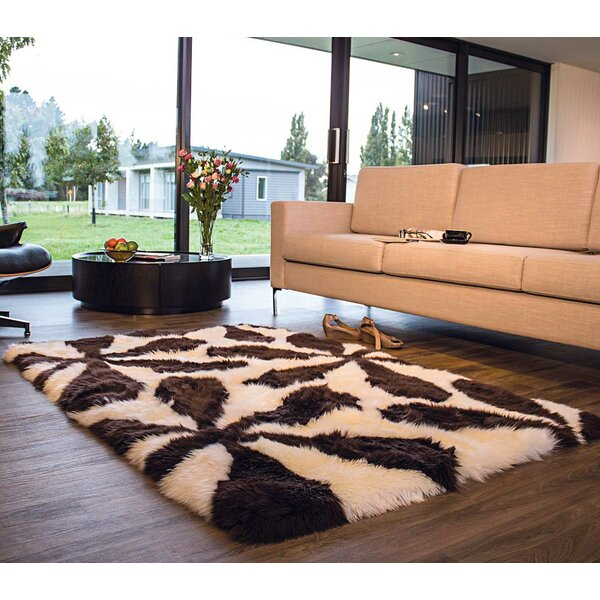 Handmade Champagne/Brown Area Rug by Bowron Sheepskin Rugs