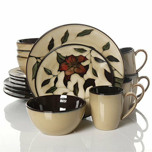Elite Scarlet Floret 16 Piece Dinnerware Set, Service for 4 by Gibson