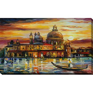 The Golden Skies of Venice by Leonid Afremov Painting Print on Wrapped Canvas by Picture Perfect International