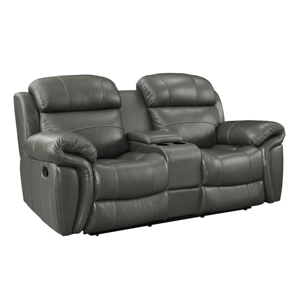 Hatzieleftheriadis Leather Reclining Loveseat with Console by Red Barrel Studio