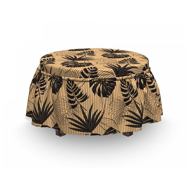 Monstera Plants On Stripes Ottoman Slipcover (Set Of 2) By East Urban Home