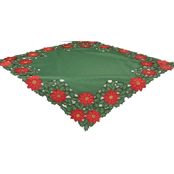 Holly Leaf Poinsettia Embroidered Cutwork Holiday