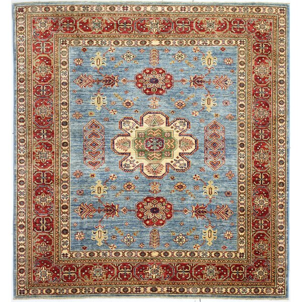 One-of-a-Kind Harrod Hand-Knotted Wool Red/Light Blue Area Rug by Bloomsbury Market