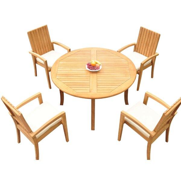 Webber 5 Piece Teak Dining Set Bayou Breeze W001959832