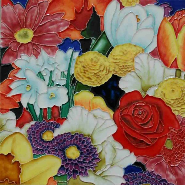 Multi Flowers Tile Wall Decor by Continental Art Center