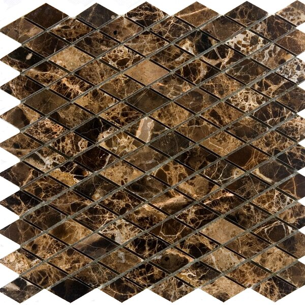 Diamond Marble Mosaic Tile in Emperador Dark by Epoch Architectural Surfaces