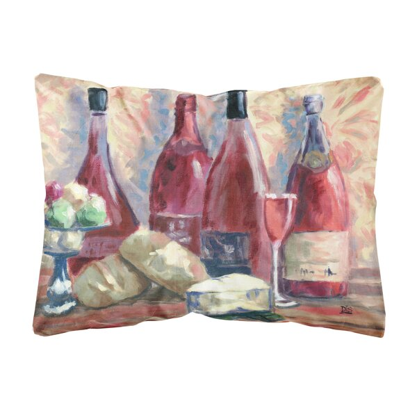 Siegel Wine and Cheese by David Smith Fabric Indoor/Outdoor Throw Pillow by Fleur De Lis Living