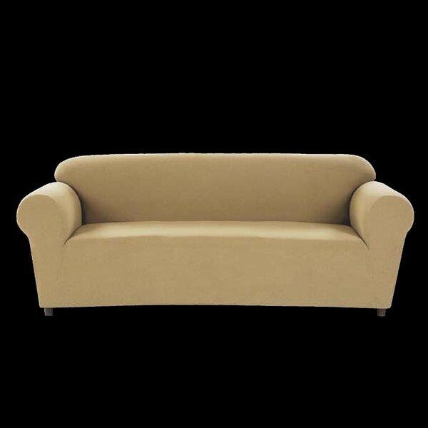 Chamois Stretch Box Cushion Loveseat Slipcover by Ellen Tracy