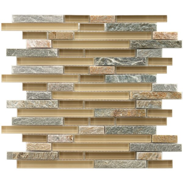 Sierra Random Sized Glass and Natural Stone Mosaic Tile in Gray/Brown by EliteTile