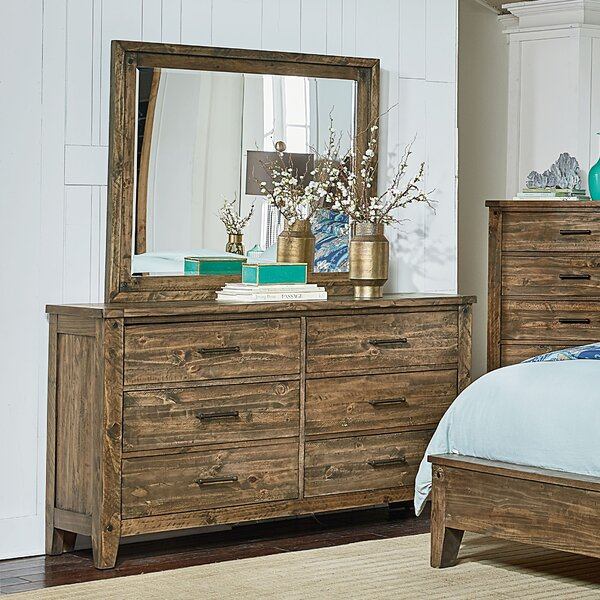 Burleigh 6 Drawer Double Dresser with Mirror by Loon Peak
