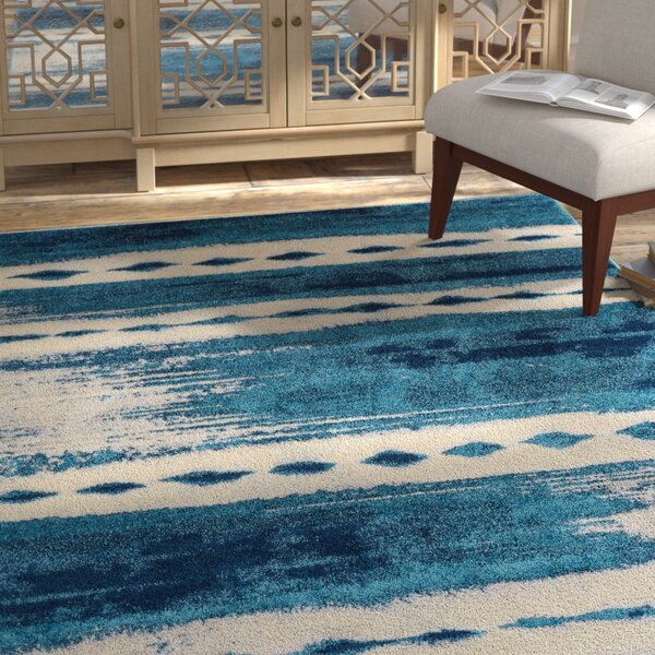 Redus Abstract Brush Strokes Blue Area Rug by Bungalow Rose
