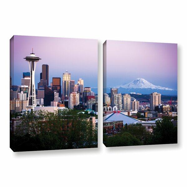Seattle and Mt. Rainier 2 by Cody York 2 PiecePhotographic Print on Wrapped Canvas Set by ArtWall