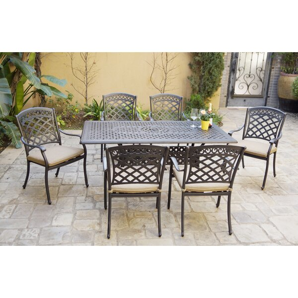 Ironton 7 Piece Dining Set With Cushions By Fleur De Lis Living