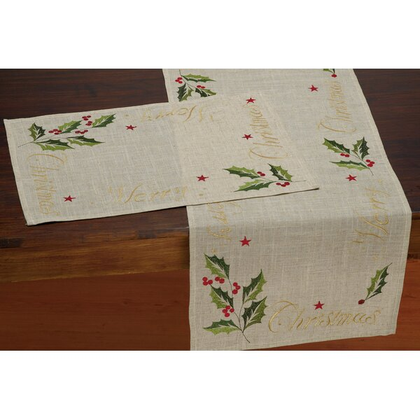 Merry Christmas Embroidered Table Runner by The Holiday Aisle