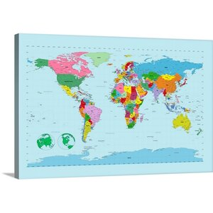 'Traditional World Map' by Michael Tompsett Graphic Art on Wrapped Canvas by Great Big Canvas