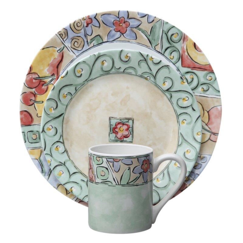 Impressions Watercolors 16 Piece Dinnerware Set Service for 4  sc 1 st  Wayfair & Corelle Impressions Watercolors 16 Piece Dinnerware Set Service ...