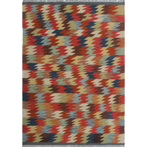 One-of-a-Kind Priston Hand-Woven Wool Red/Brown Area Rug by Loon Peak