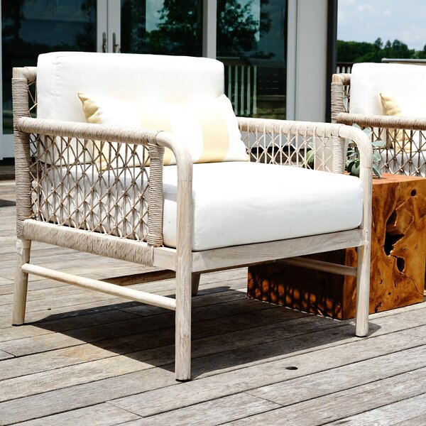 Villegas Teak Patio Chair with Cushions by Bayou Breeze