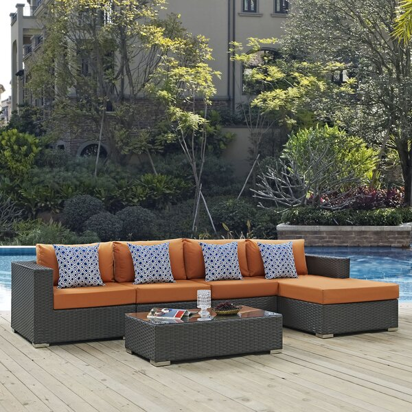 Tripp 5 Piece Rattan Sunbrella Sectional Seating Group with Cushions by Brayden Studio Brayden Studio