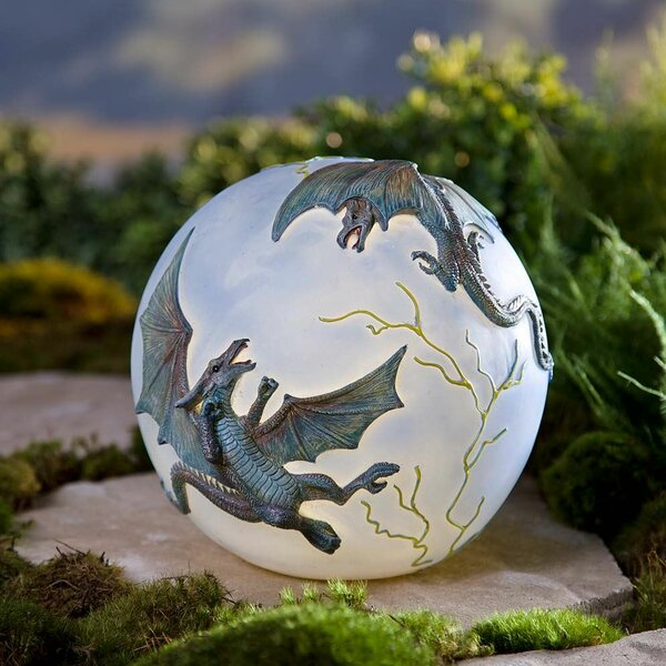 Lighted Resin Dragon Gazing Globe by Wind & Weathe