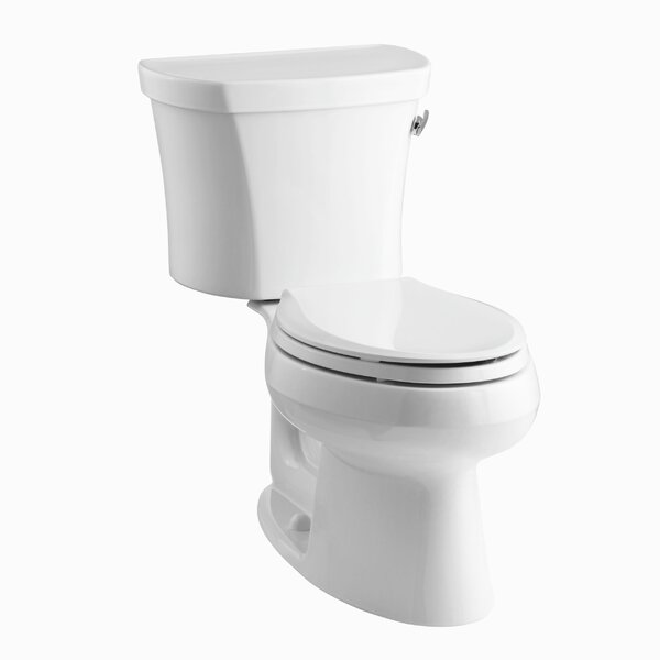 Wellworth Two-Piece Elongated 1.28 GPF Toilet with Class Five Flush Technology, Right-Hand Trip Lever and Tank Cover Locks by Kohler