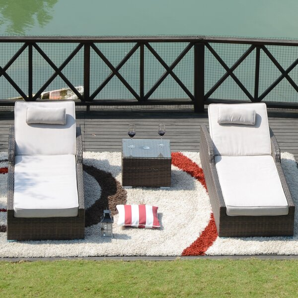 Tenny Sun Lounger Set with Cushion and Table by Rosecliff Heights Rosecliff Heights