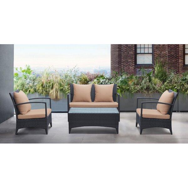 Wainwright 4 Piece Rattan Sofa Set with Cushions by Brayden Studio