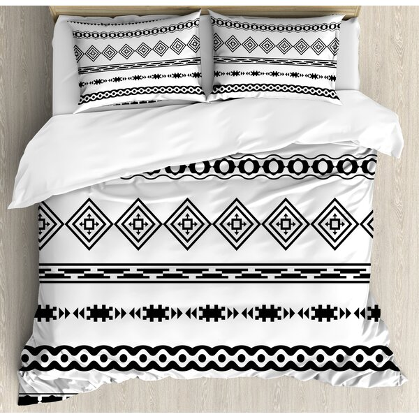 Native American Ethnic Abstract Geometric Forms Tribal Aztec Effects Folkloric Design Duvet Set by Ambesonne