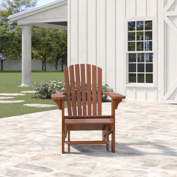 Delatorre Solid Wood Adirondack Chair with Ottoman by Birch Lane Heritage Birch Lane™ Heritage