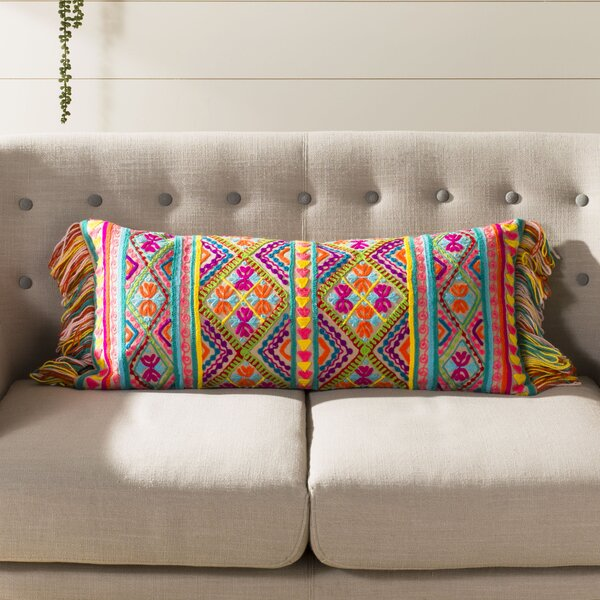 Poirier Embroidered Lumbar Pillow by Bungalow Rose