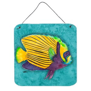 Fish Tropical on Teal by Sylvia Corban Painting Print Plaque by Caroline's Treasures