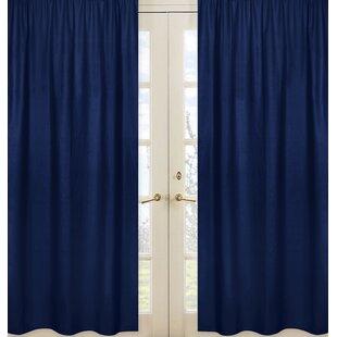 Stripe Collection Navy Blue Semi Sheer Rod Pocket Curtain Panels Set Of 2