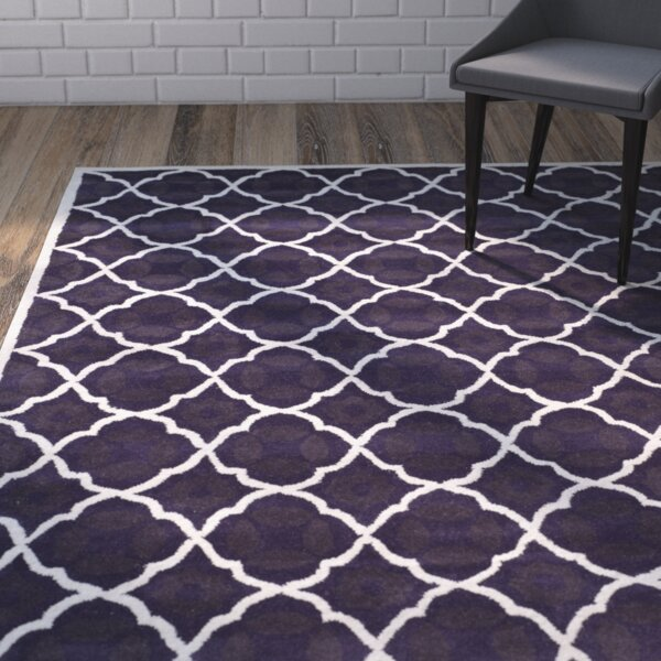 Wilkin Purple/Ivory Moroccan Area Rug by Wrought Studio