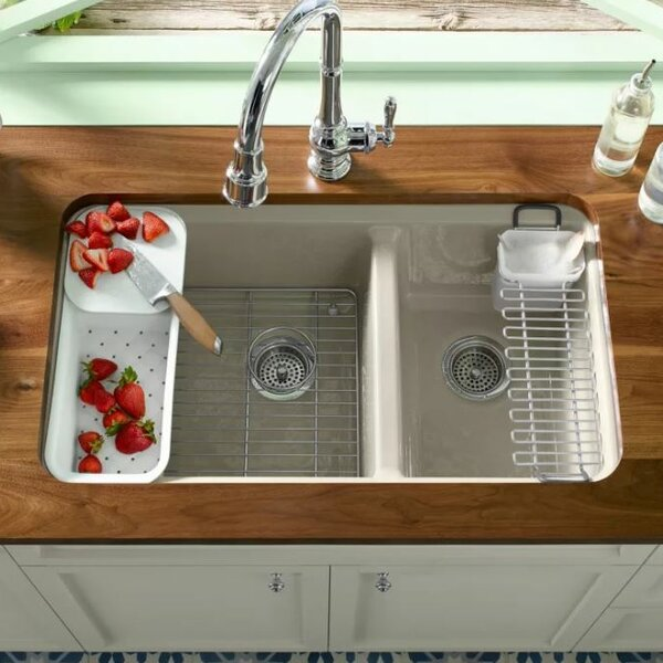 Riverby 33 L x 22 W Double Basin Undermount Kitchen Sink by Kohler