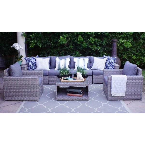 Burkley 7 Piece Sectional Seating Group with Cushions by Longshore Tides