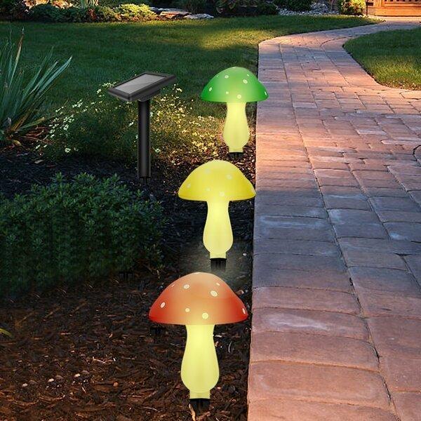 Outdoor Garden Solar Powered Mushroom 3-Light LED Pathway Light by Myfuncorp