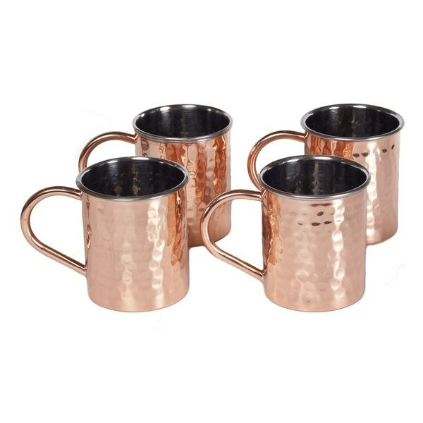 Tall Hammered Polished Handmade 16 oz. Copper Mugs (Set of 4) by ZallZo