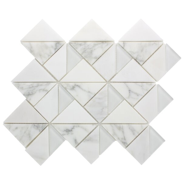 Geometric Triangle Random Sized Marble Mosaic Tile in White by Multile